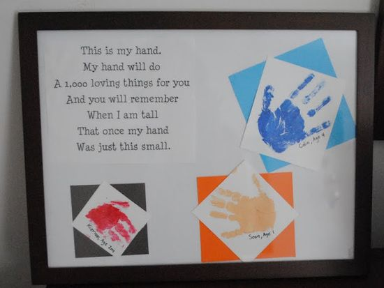 """""""once my hand was just this small"""" saying  & kids hand print.:  Idea for Grandparents gift"""