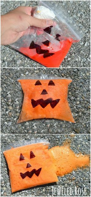 Bubbling BOO Bombs & Popping Pumpkins. This activity is so FUN, very inexpensive, and really easy to put together. A fun way to practice the scientific method with this pumpkin and Halloween inspired activity. Great for sensory integration as well for our special needs students. Get all the directions at: http://www.growingajeweledrose.com/2013/09/bubbling-boo-bombs-Halloween-activity.html