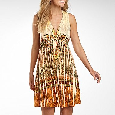 One World Print Dress with Beaded Neckline - jcpenney