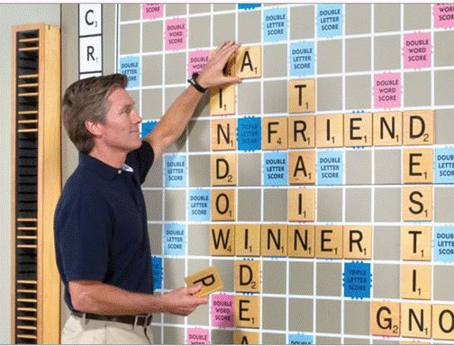 """A Scrabble wall at the library would be great fun, as patrons could put up a word when they visit.  It could also be used for the """"final match"""" of a Scrabble tournament, and invite the community to come watch."""