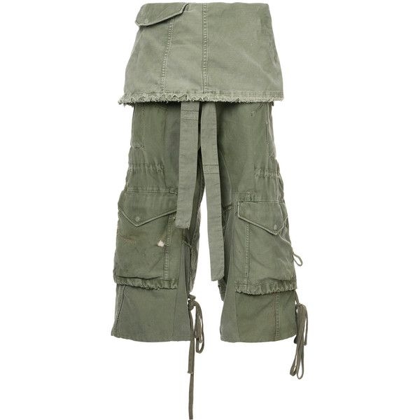 Greg Lauren cropped layered cargo trousers ($1,250) ❤ liked on Polyvore featuring men's fashion, men's clothing, men's pants, men's casual pants, green, mens cargo pants, mens cotton pants, men's casual cotton pants, mens green cargo pants and mens cotton cargo pants