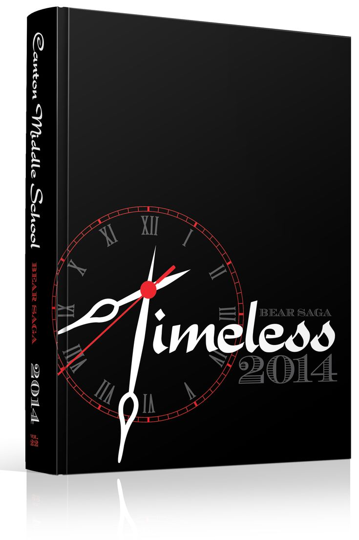 """Yearbook Cover - Canton Middle School - """"Timeless"""" - Clock, Time, Timepiece, Watch, Clock Hands, Hour, Minute"""