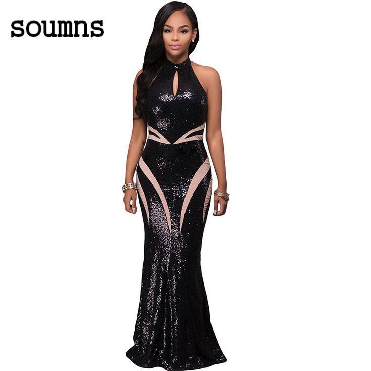 Hot koop nieuwe 2017 black sequin dress mouwloze hoge hals keyhole formele lange party jurken robe de soiree robe dentelle 61414