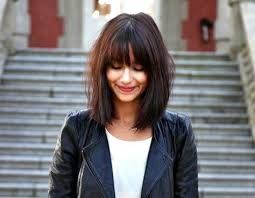 round face long bob fringe - Google Search