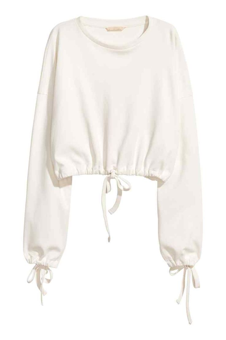 Korte sweater met drawstring - Gebroken wit - DAMES   H&M NL
