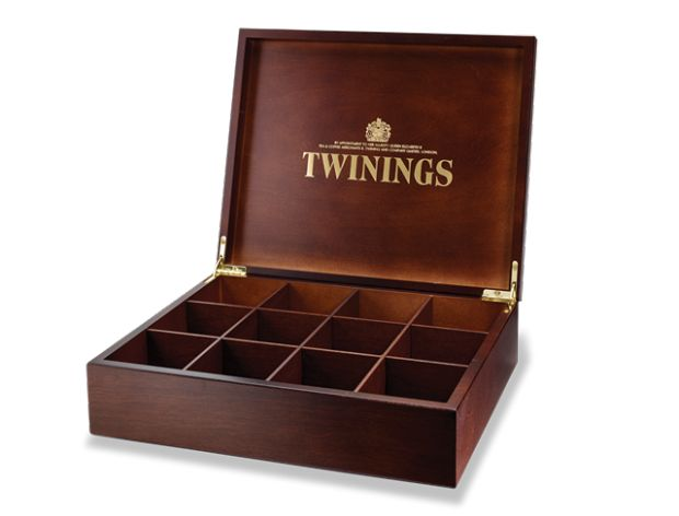Twinings wooden tea box ... compartmented to hold different types of teas or teabags, c. 2010s, UK
