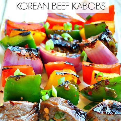 Korean Beef Kabobs Recipe Main Dishes with soy sauce, fresh ginger, minced garlic, honey, green onions, red pepper flakes, beef, green bell pepper, red bell pepper, orange, purple onion