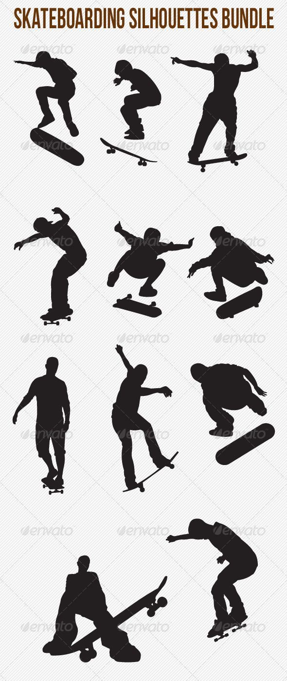 Skateboarding Silhouettes Bundle #GraphicRiver Skateboarding Silhouettes Bundle…