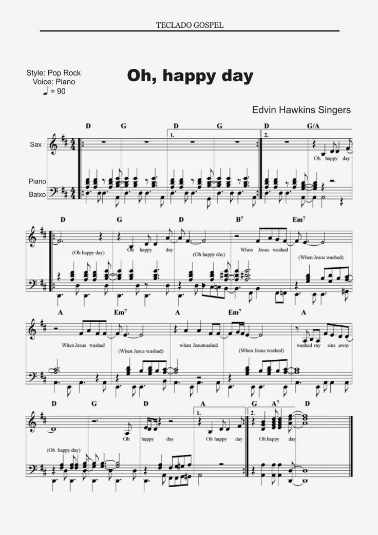 Partituras para piano: Oh happy day                              …