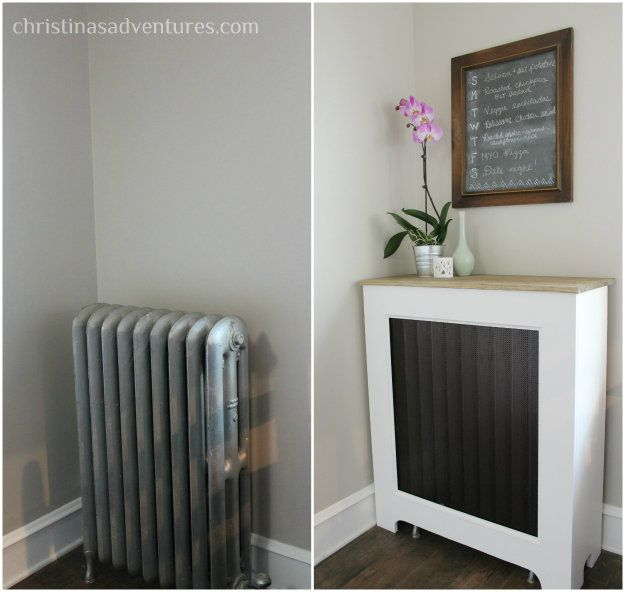 Cover a radiator to beautify and add precious extra surface space.
