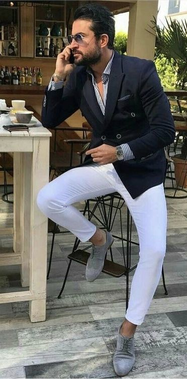 930562c2201 @tufanir - with a navy double breasted blazer blue striped shirt white  trousers watch no