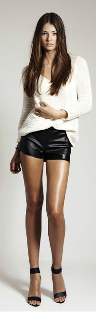 Leather Shorts+ baggy sweater top #killing heels#sexy#hot legs GG's tiny times ♥