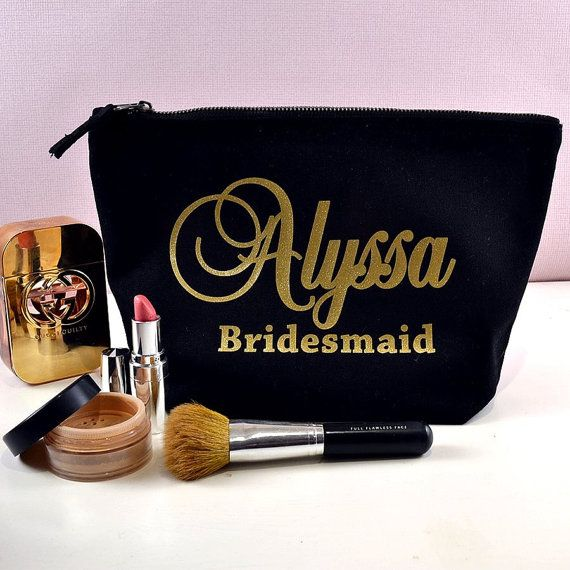 This beautiful brushed cotton canvas black make up bag is personalised with gold glitter metallic text, to make the perfect Bridesmaid gift!
