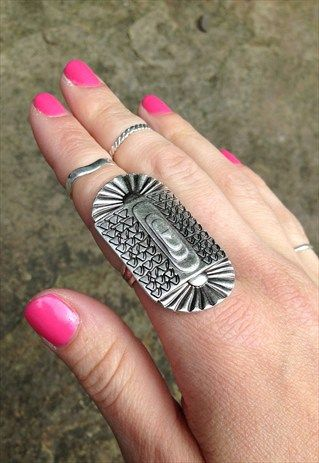 Handmade ethical silver plated tribal ring