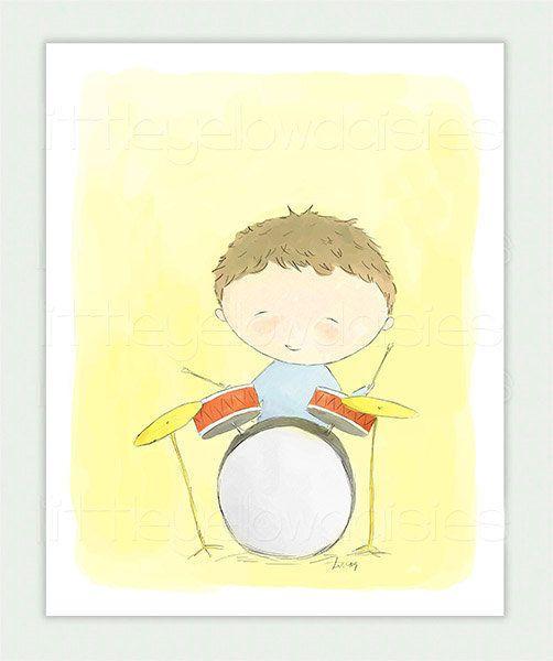 Music Nursery Art-Little Drummer Boy-Kids by LittleYellowDaisiess