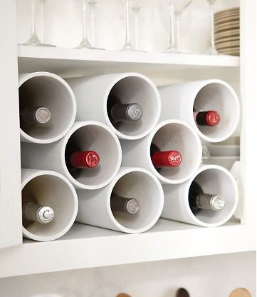 Practico botellero echo con tubo de pvc blanco para los - Tubos pvc blanco ...