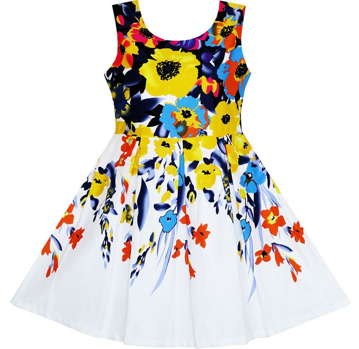 Sunny Fashion Girls Dress Elegant Princess Colorful Blooming Flower Size 4-10…