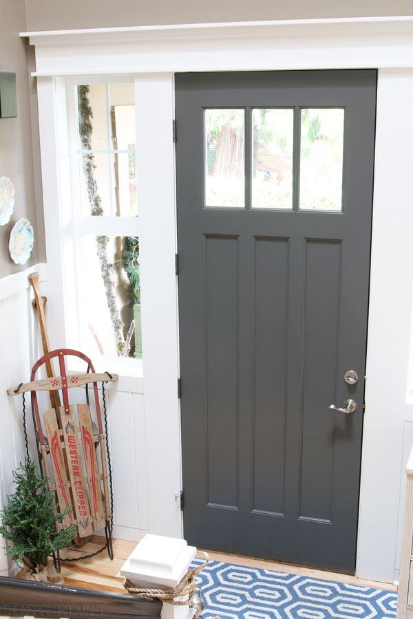 Charcoal Painted Front Door - The Inspired Room Christmas House Tour