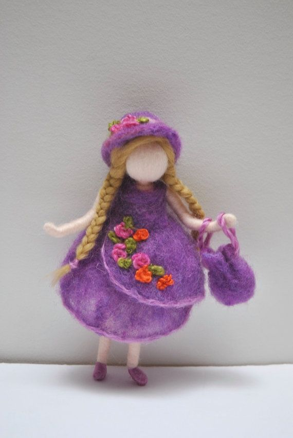 Soft doll Waldorf inspired needle felted Room Decoration : Girl in purple dress…