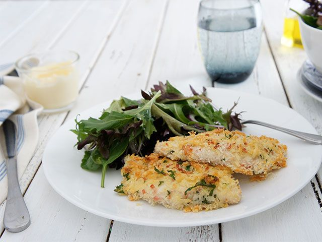 Easy and tasty way to make crumbed chicken.