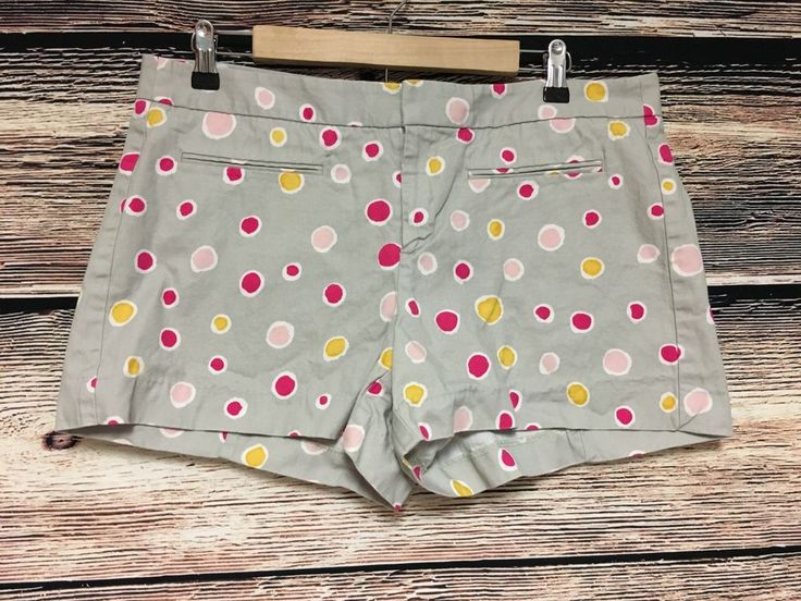 Gap Size 12 Polka Dot Shorts Tan Pink Yellow Denim Cotton #Gap #CasualShorts