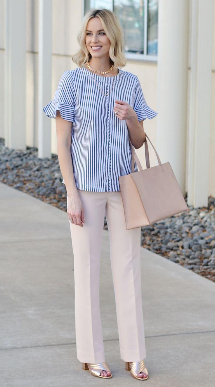 work week chic, Banana Republic Logan blush pants, blue flutter sleeve top, spring work outfit idea
