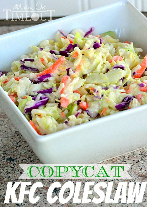 Delicious Copycat KFC Coleslaw recipe – this coleslaw is the perfect side dish to every barbecue and it's great to bring to pot lucks and other get-togethers.| MomOnTimeout.com