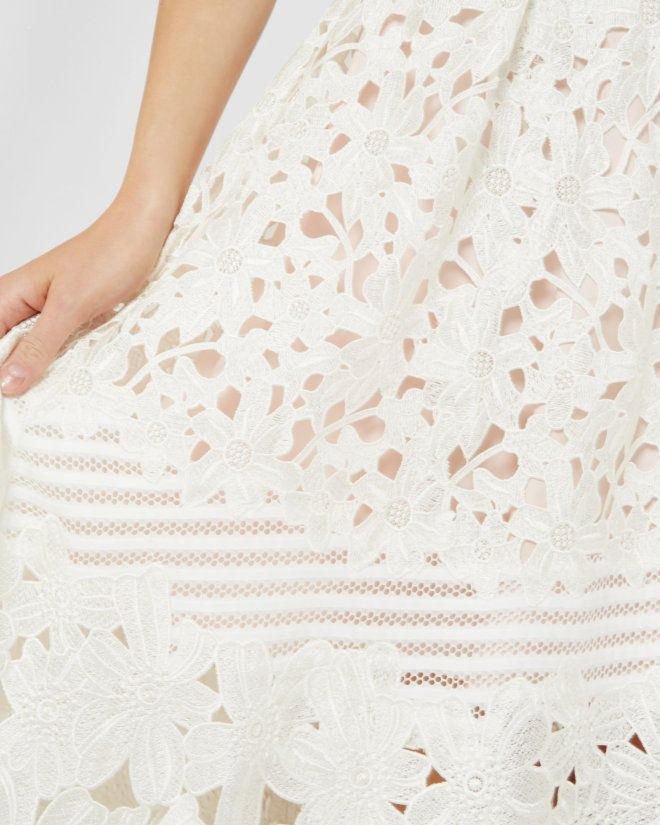 Sheer panel lace dress - Ivory | Dresses | Ted Baker