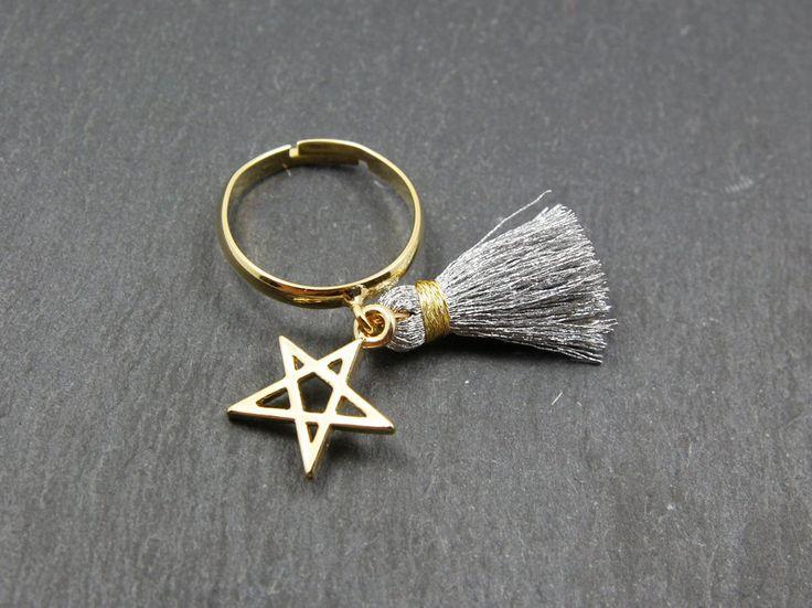 Gold/silver tassel star rings,gold tassel,silver tassel,tassel ring,star rings,adjustable rings,fashion ring,tassel charm ring,charm ring by MYLB on Etsy