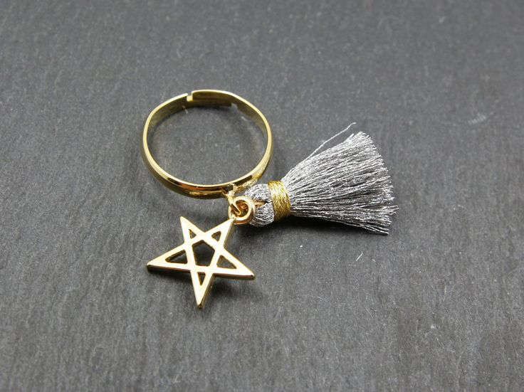 Gold/silver tassel star rings,gold tassel,silver tassel,tassel ring,star rings,adjustable rings,fashion ring,tassel charm ring,charm ring by MYLB on Etsy