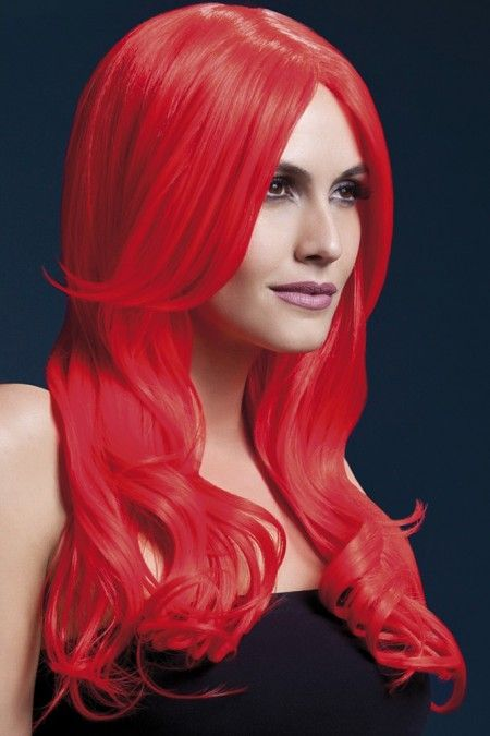 Khloe Wig in Neon Red