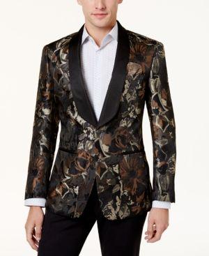Tallia Men's Big & Tall Slim-Fit Brown/Black Floral Shawl-Collar Dinner Jacket - Brown 54XL