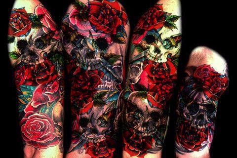 Skull & Roses Temporary Tattoo Sleeve, Tattoo Sleeve, Skull Roses, Body Art, Arm Sleeve, Tattoos for Women,Designs Ideas Ink Fake Floral Flower Tatoo Punk
