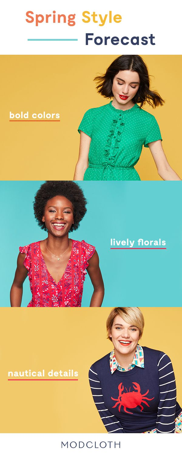 Transition from winter to spring in these 3 seasonal styles. Sport bright, juicy shades of citrus, channel your inner sailor with nautical details, or add a splash of color with lively floral prints. Brighten your days when you shop at ModCloth.