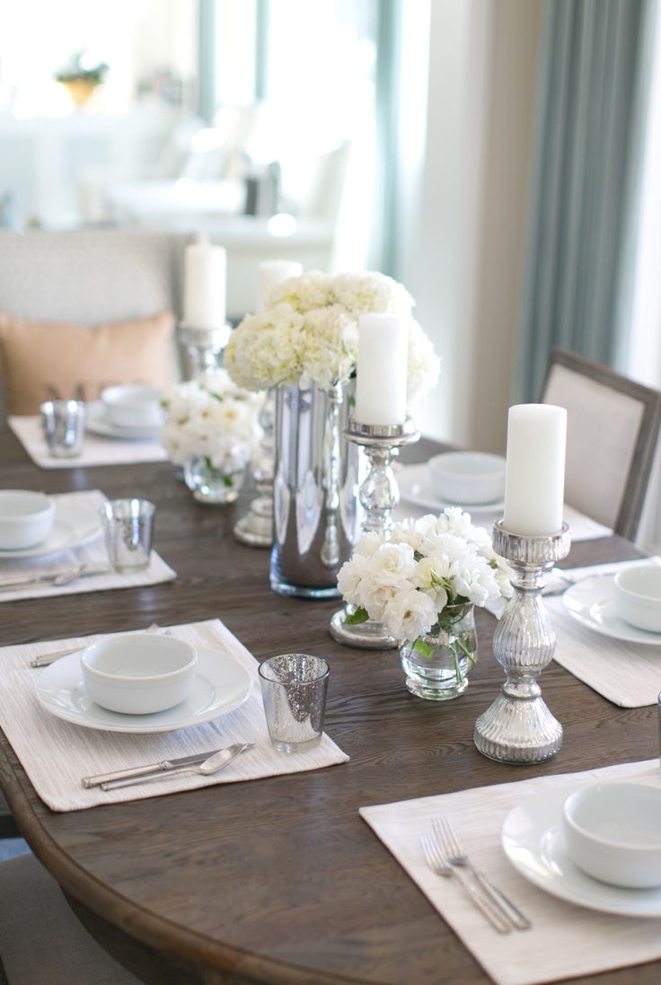 25 best ideas about dining room table decor on pinterest for Formal dining table centerpiece