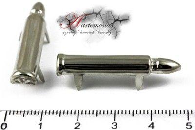 Ćwieki naboje 35x7mm srebrne 2szt. nabój pocisk
