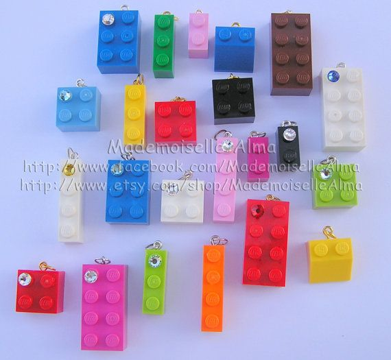 Lot of 10 beadscharms made from LEGO R bricks by MademoiselleAlma, $20.00