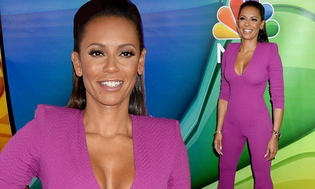 Mel B showcases her 30lb weight loss in skintight purple jumpsuit