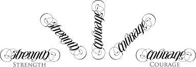 strenght courage tattoo ambigram