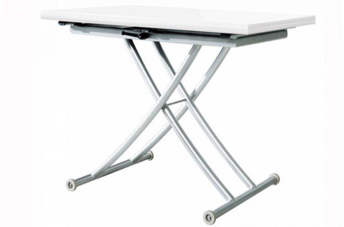 Table basse relevable extensible laqué blanc Ella