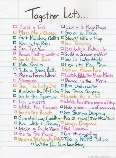 Date ideas? Already done a lot of these with my boo <3 no skinning dipping for us though! cute ideas