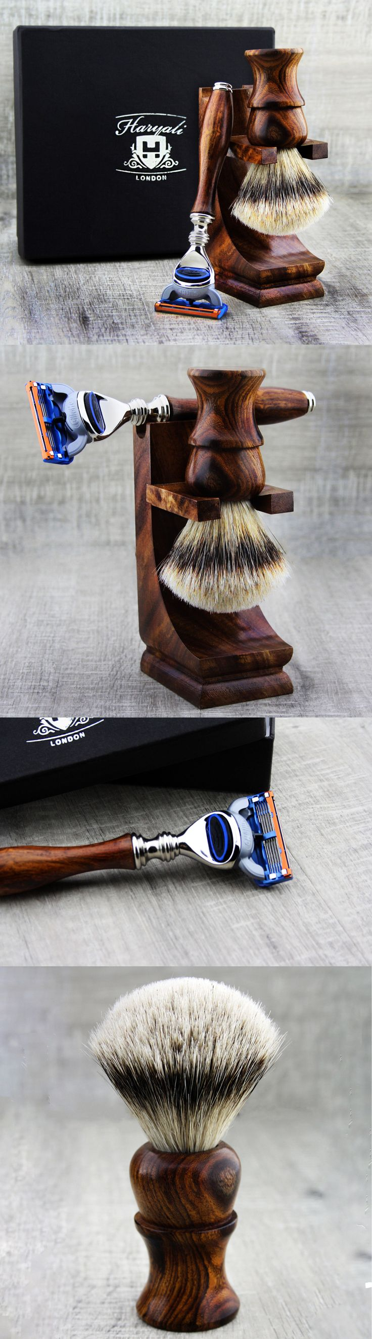 Shaving and Grooming Kits and Sets: Classic Shaving Gift Set Wooden Shaving Badger Sliver Tip Hair And Fusion Razor BUY IT NOW ONLY: $69.99