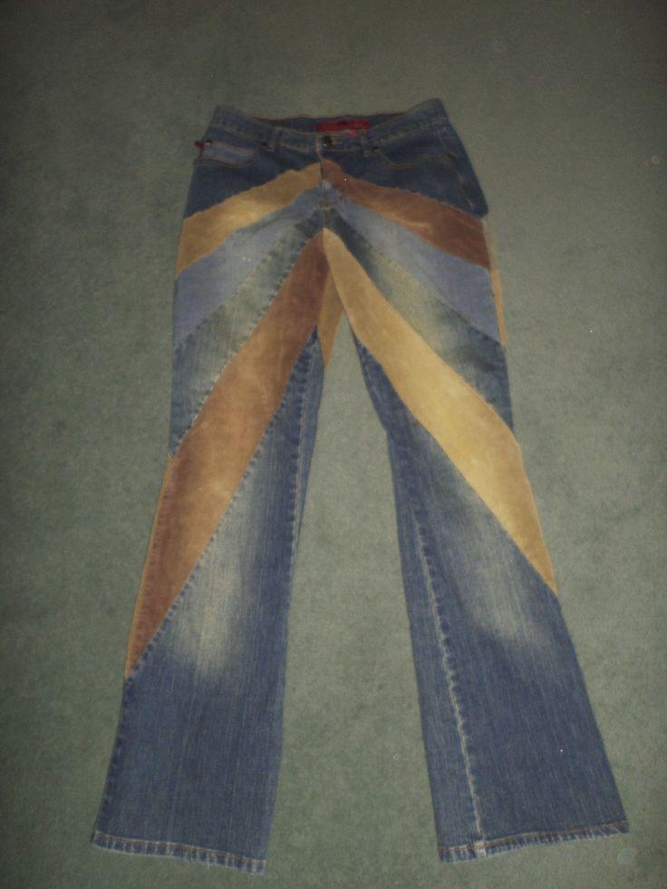 Women's Blue, Grey, Brown YMI LETS UBU Boho Style Striped Denim & Corduroy Fashion Flare Jeans, Size 9 X 31, Good Shape! | eBay!