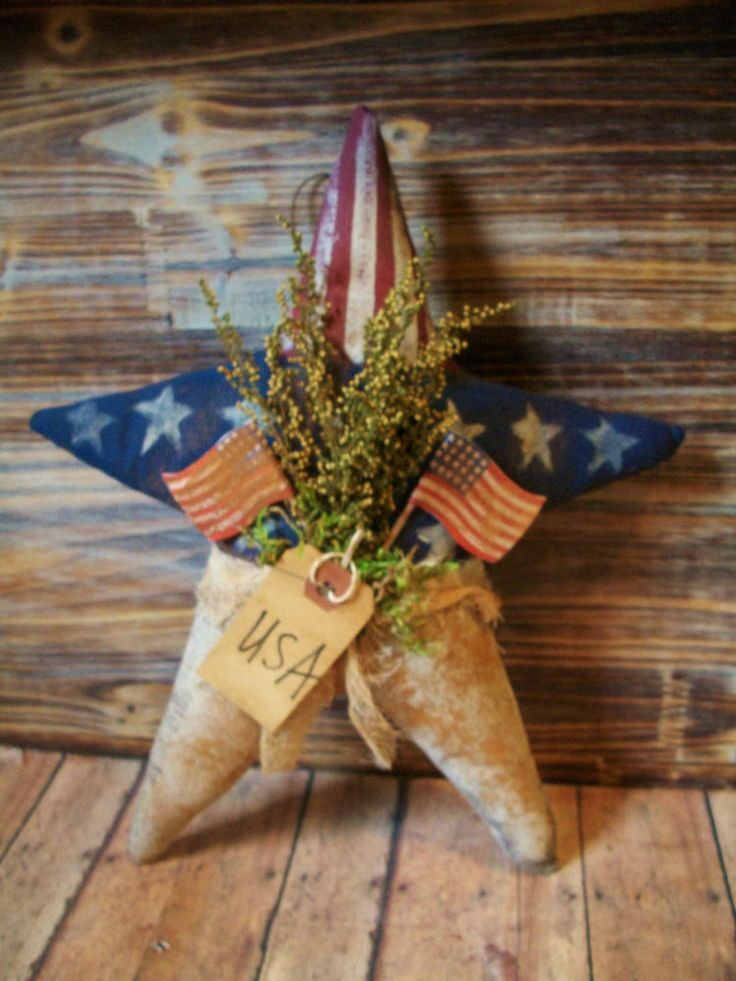 * Primitive 12 x 10 in. Usa STar - rusty wire hanger doll - Flag Holiday -* #NaivePrimitive
