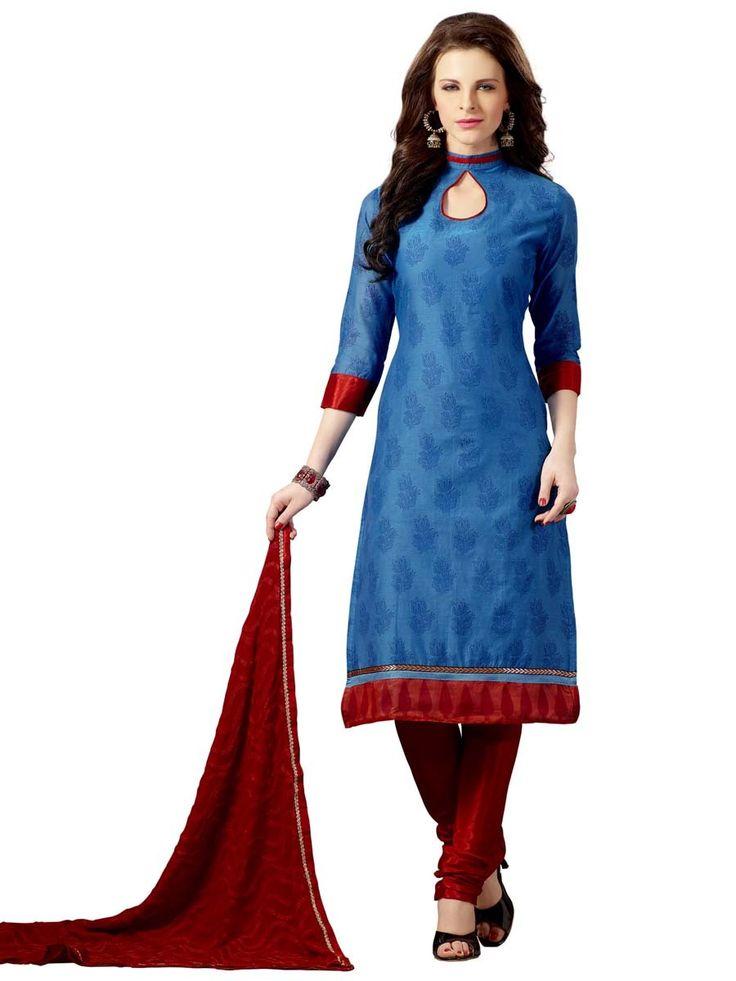 Refreshing blue color printed chanderi silk kurta with fancy patch. Item Code : SLHD74008 www.bharatplaza.com/new-arrivals/salwar-kameez.html