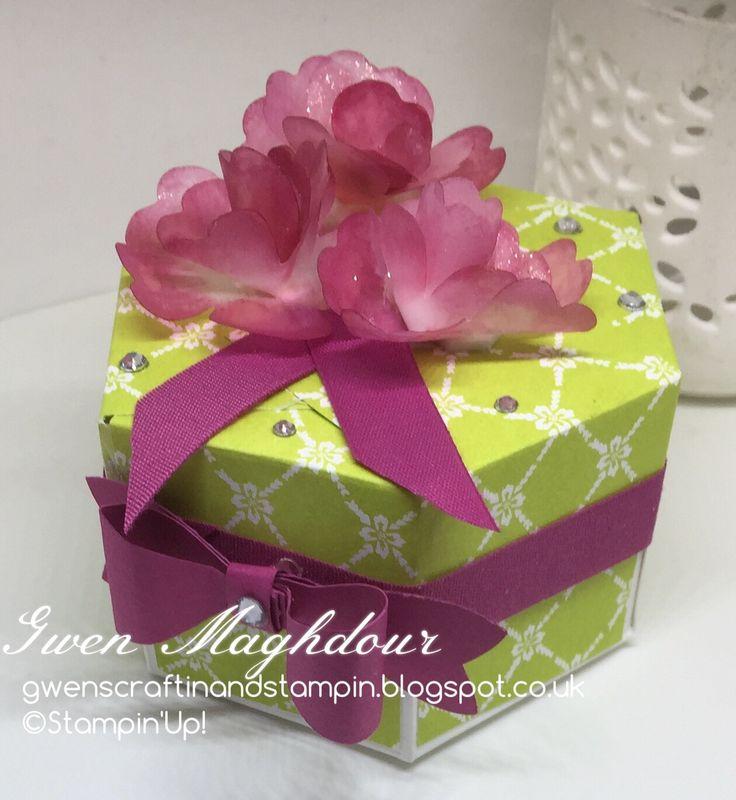Fresh Florals hexagon Box with vellum Floral embellishment. gwenscraftinandstampin