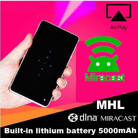 Высокое качество встроенный аккумулятор 5000 мАч Мини пико Карманный проектор Miracast Airplay Q6 DLP Мобильный телефон-Проектор HDMI, МХЛ USB