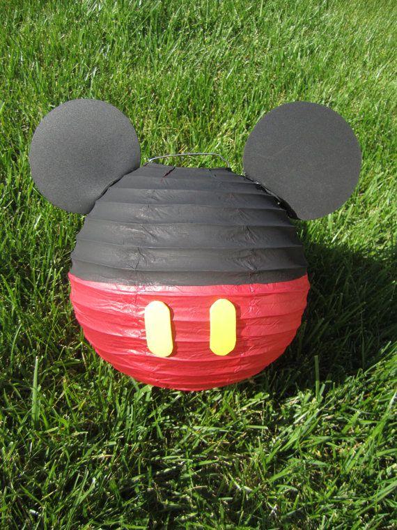 Inspirado en Mickey Mouse decoración de linterna de papel rojo