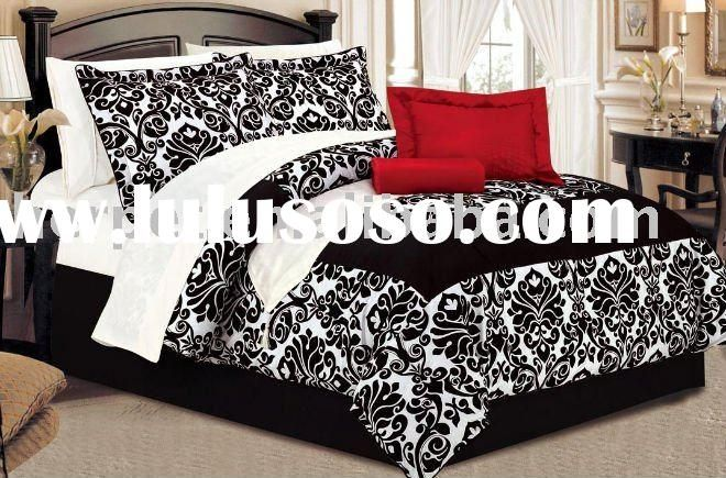Damask bedroom black white and red new apartment for Black damask bedroom ideas
