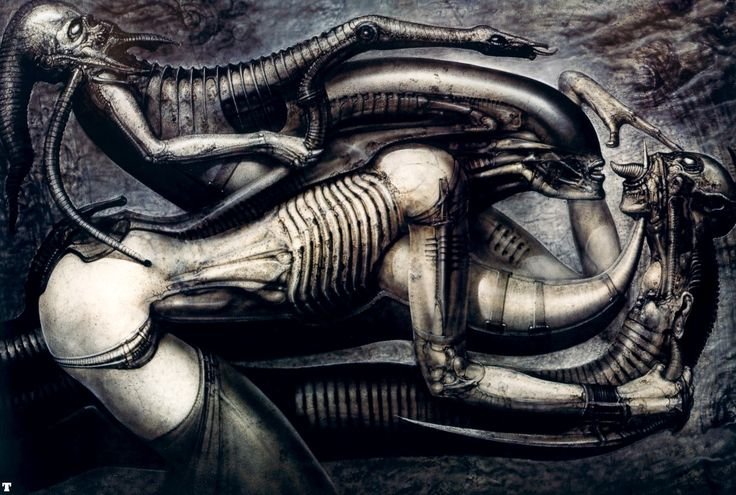 """HR Giger: """"Some people say my work is often depressing and pessimistic, with the emphasis on death, blood, overcrowding, strange beings and so on, but I don't really think it is."""""""